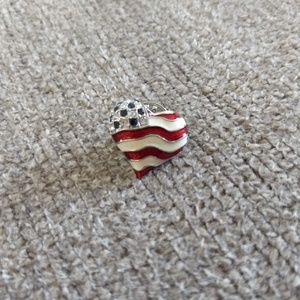 Liz Claiborne Signed American Flag Enamel Heart
